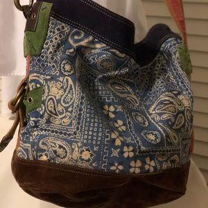 Lucky Brand hobo or bucket paisley suede purse